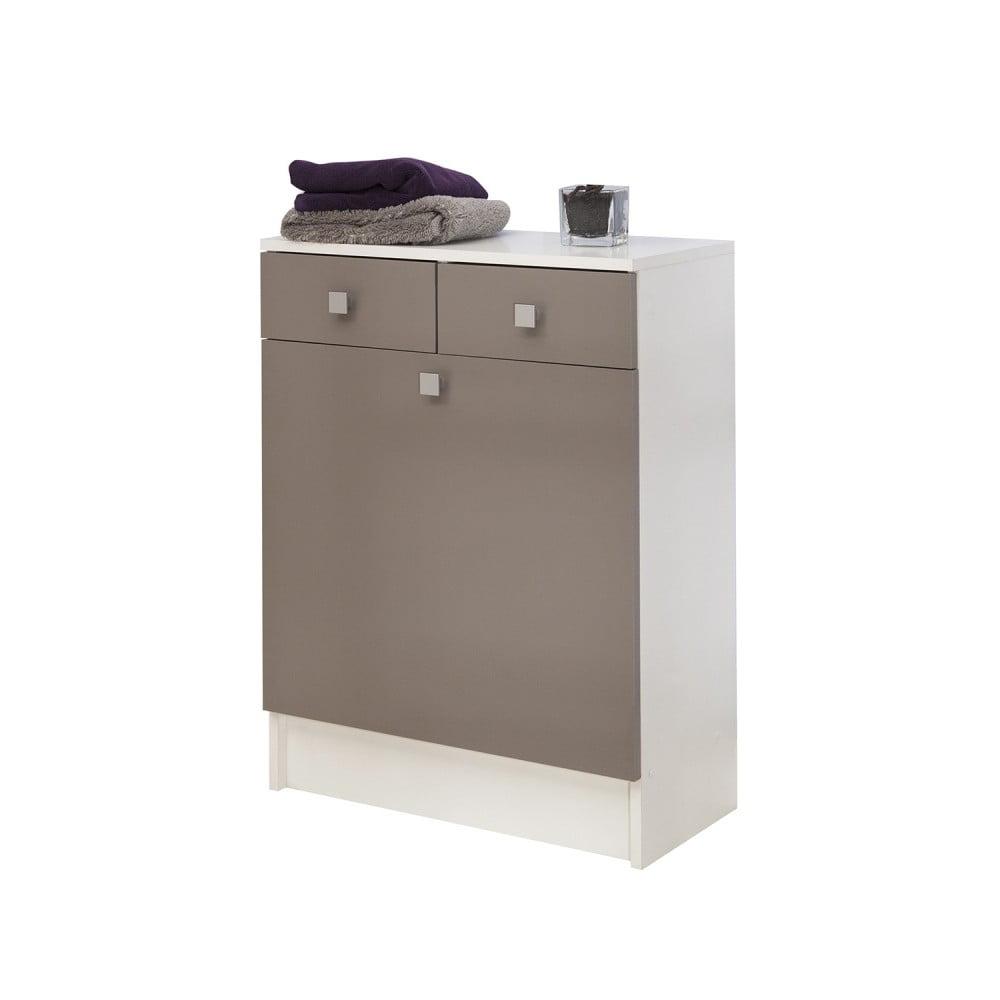 Sivohnedá kúpeľňová skrinka na kôš na bielizeň Symbiosis Combi, šírka 60 cm
