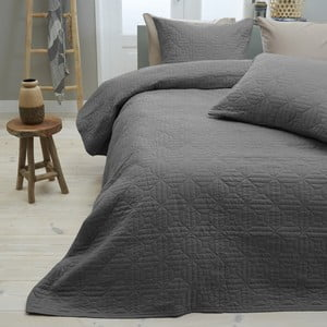 Antracitová prikrývka cez posteľ s dvomi obliečkami na vankúš z mikroperkálu Sleeptime Memphis, 260×250 cm