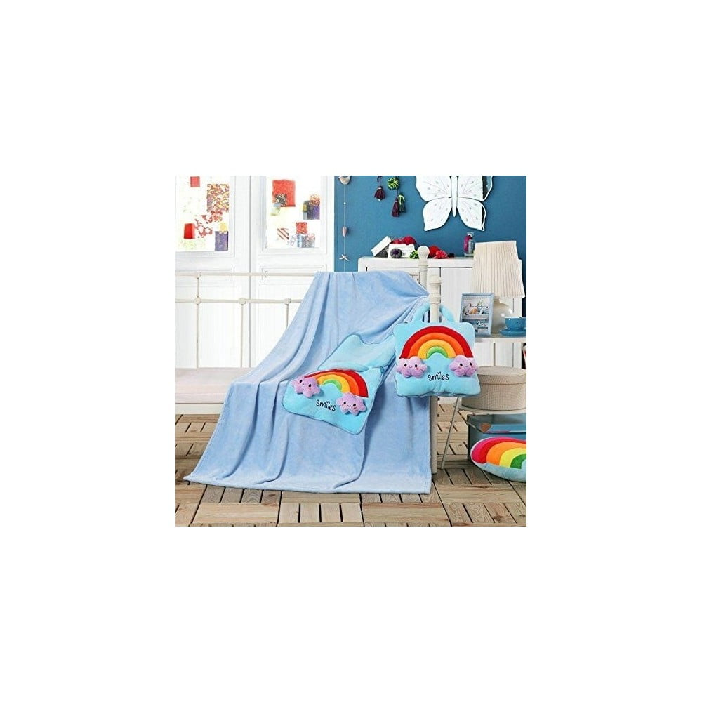 Svetlo modrá detská deka z mikrovlákna DecoKing Cuties Smiles, 110 x 160 cm