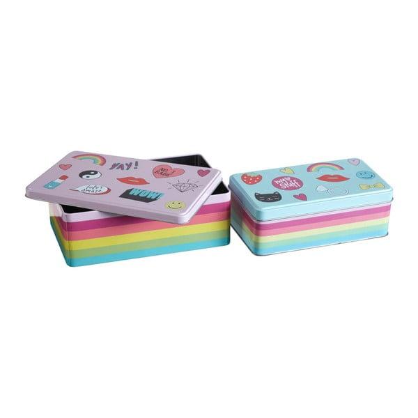 Sada 2 cínových úložných boxov Premier Housewares Fun Times, 13×20 cm