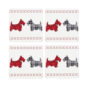 Sada 4 podtácok Traditional Scottie Dog