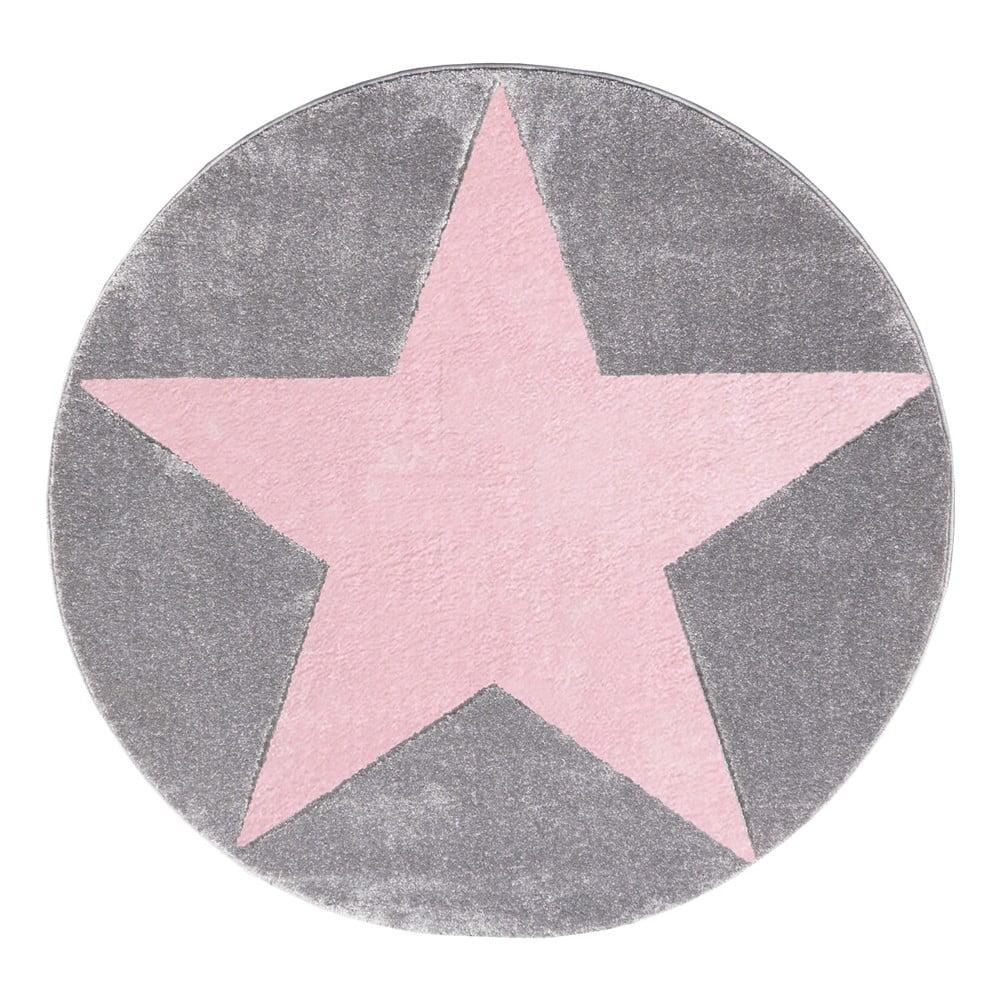 Ružovo-sivý detský koberec Happy Rugs Round, Ø 133 cm