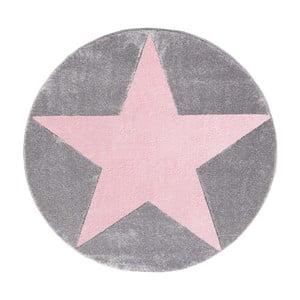 Ružovo-sivý detský koberec Happy Rugs Round, Ø 133cm