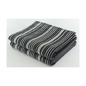 Set 2 osušiek Black Stripes, 70x140 cm