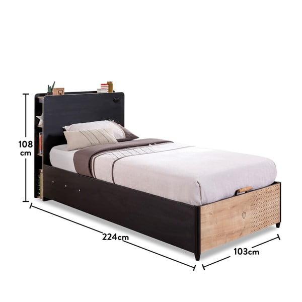 Čierna jednolôžková posteľ s úložným priestorom Black Bed With Base, 100 × 200 cm