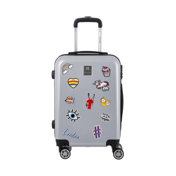 Sada 3 sivých cestovných kufrov so sadou nálepiek Berenice Stickers