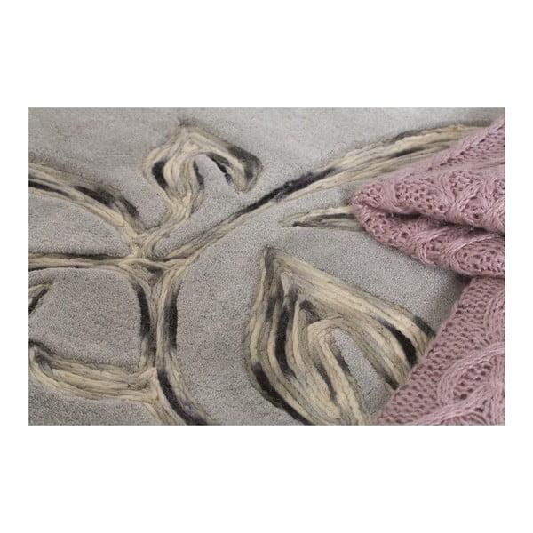 Vlnený koberec Florali 120 x 170 cm, sivý