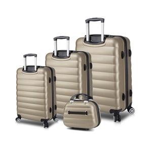 Sada 3 cestovných kufrov na kolieskach s USB porty a príručného kufríka v zlatej farbe My Valice RESSO Travel Set