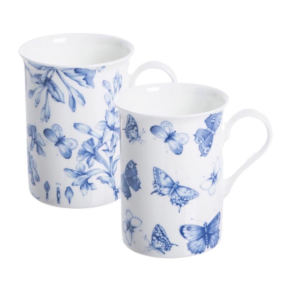 Sada 2 hrnčekov s motívom motýľov z porcelánu Price & Kensington Botanical, 300 ml