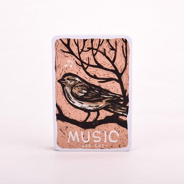 Plechový zápisník Music, ružový vtáčik
