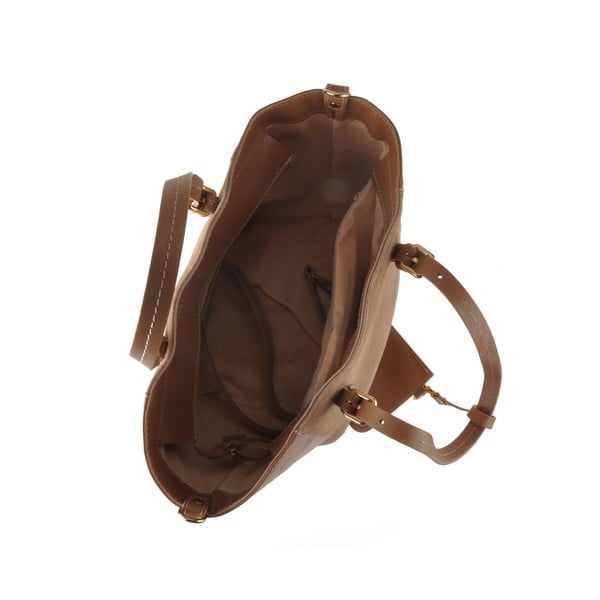 Kožená kabelka Emilio Masi Gomeisa, svetlohnedá