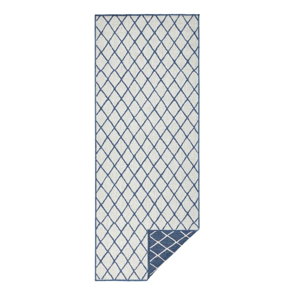 Modro-krémový vonkajší koberec Bougari Malaga, 80 x 350 cm