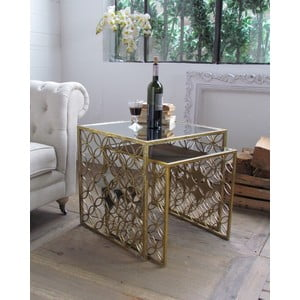Sada 2 kávových stolíkov Gold Vintage