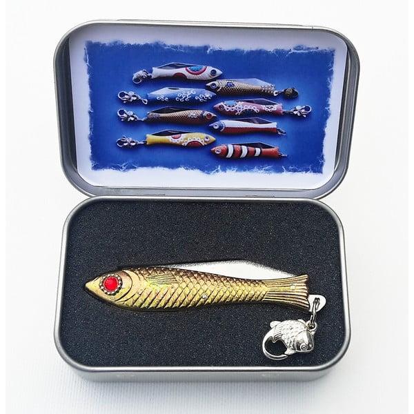 Vianočný český nožík rybička s červeným okom, v plechovej krabičke