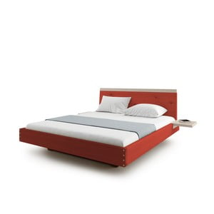 Červená dvojlôžková posteľ z masívneho dubového dreva JELÍNEK Amanta, 160 x 200 cm