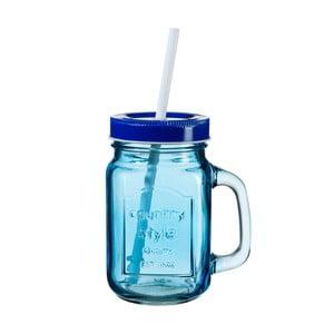 Modrý pohár s viečkom a slamkou SUMMER FUN II, 450ml