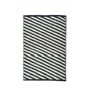 Čierno-biely bavlnený ručne tkaný koberec Diagonal, 60×90 cm