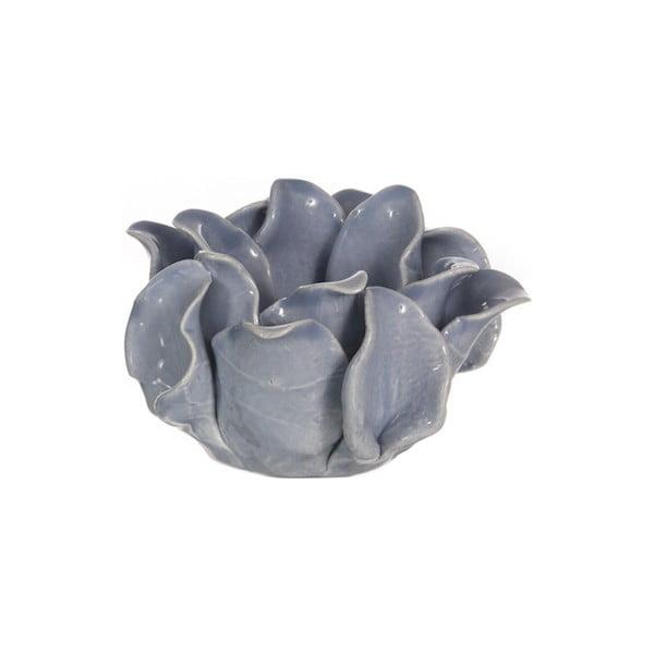 Keramický svietnik Lotos, modrý