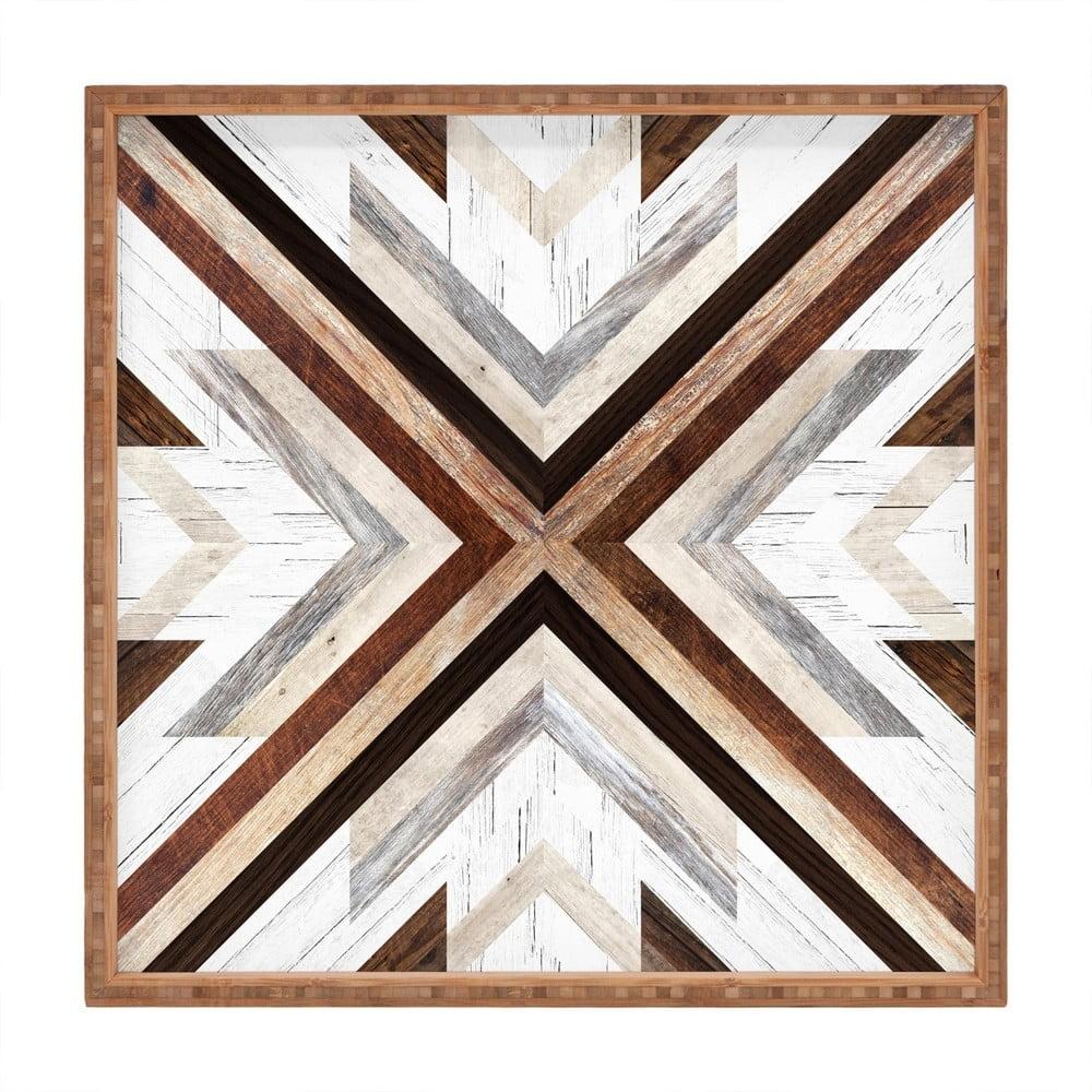 Drevený dekoratívny servírovací podnos Intarzia, 40 × 40 cm