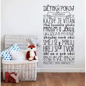 Dekoratívna samolepka na stenu Pravidlá detskej izby, čierna