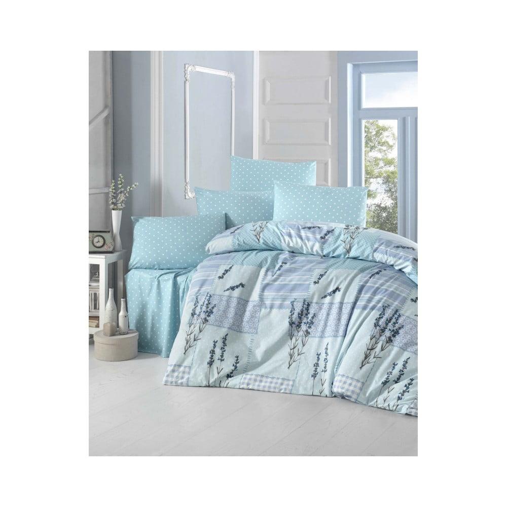 Modré bavlnené obliečky s plachtou na dvojlôžko Turcak, 200 × 220 cm