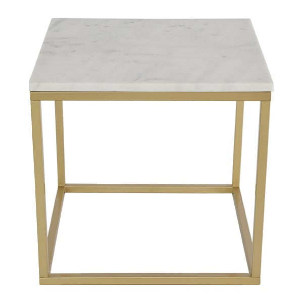 Mramorový konferenčný stolík s konštrukciou vo farbe mosadze RGE Accent, 55×55cm