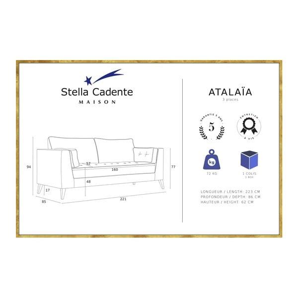 Svetlohnedá trojmiestna pohovka Stella Cadente Maison Atalaia Light Brown