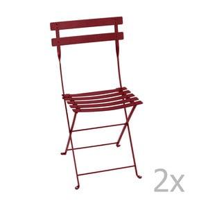 Sada 2 sýtočervených skladacích stoličiek Fermob Bistro