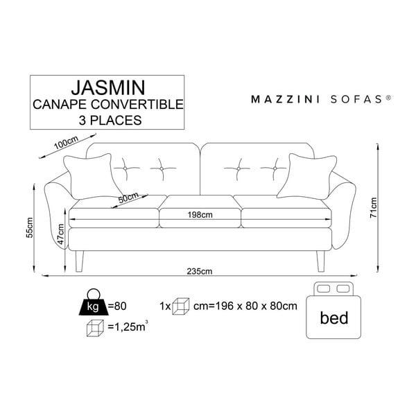 Sivá trojmiestna rozkladacia pohovka s čiernymi nohami Mazzini Sofas Jasmin