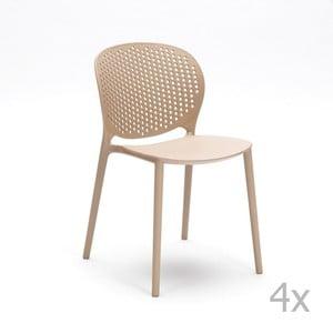 Sada 4 béžových stoličiek Design Twist Gavle