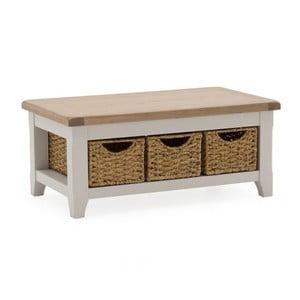 Konferenčný stolík z akáciového dreva s 3 košíkmi VIDA Living Clemence