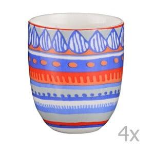 Sada 4 porcelánových šálok na espresso Oilily 80 ml, modrá