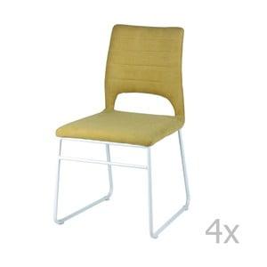 Sada 4 žltých jedálenských stoličiek sømcasa Nessa