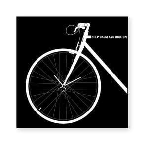 Nástenné hodiny dESIGNoBJECT.it Bike Black, 50 x 50 cm