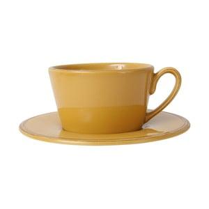 Žltá kameninová šálka s tanierikom Côté Table Const, 375ml