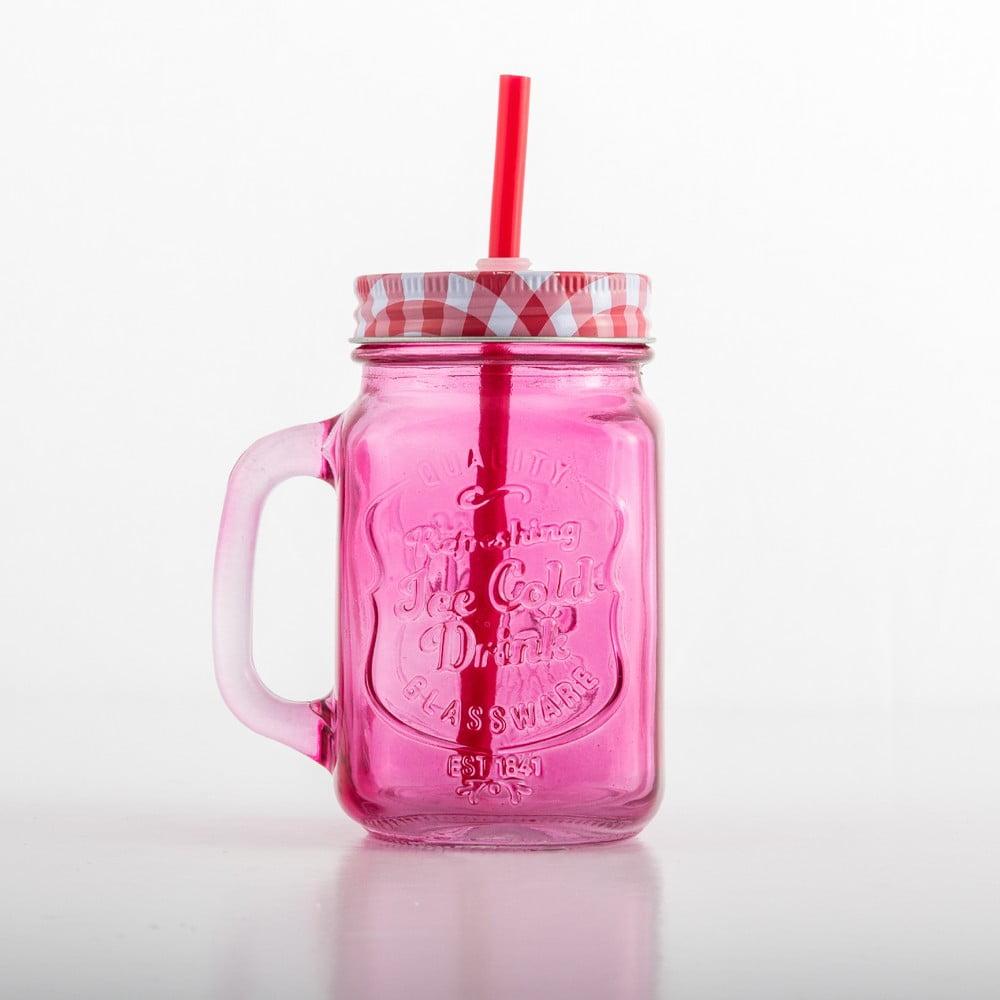 Farebný pohár s vekom a slamkou InnovaGoods Vintage, 400 ml