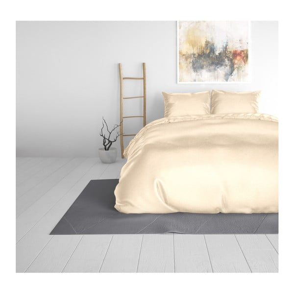 Béžové obliečky zo saténového mikroperkálu na jednolôžko Sleeptime, 140 x 220 cm