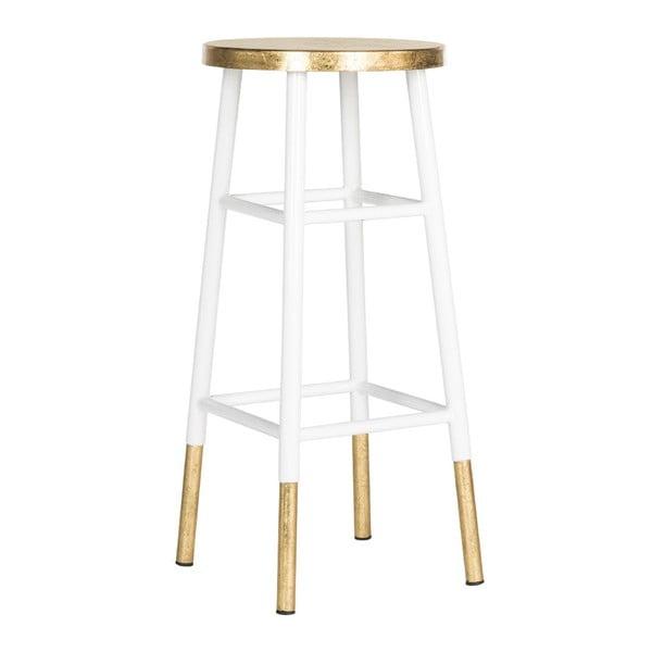 Barová stolička Antony, bielo-zlatá