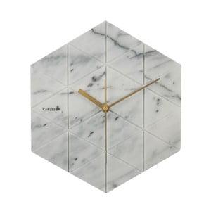 Biele hodiny Present Time Marble Hexagon