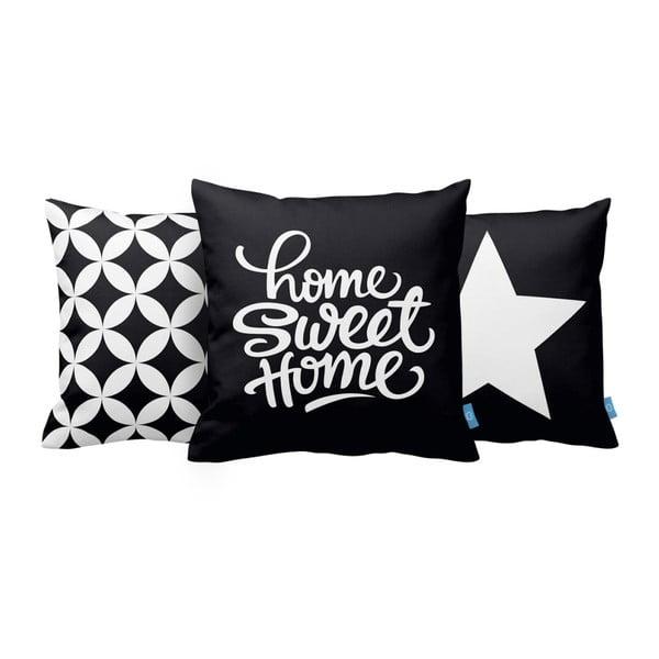 Sada 3 vankúšov Home Sweet Home, 43x43 cm, čierna