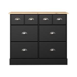 Čierna komoda s 8 zásuvkami Steens Nola, 78,5 × 91,4 cm