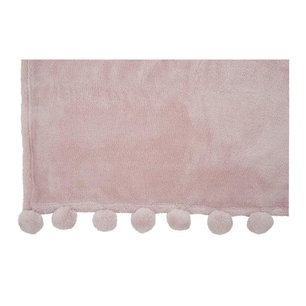 Ružový pléd J-Line Pom-Pom