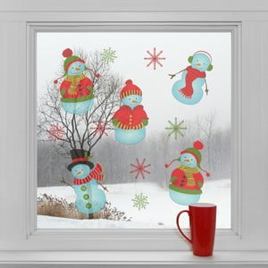 Elektrostatické vianočné samolepky Snehuliaci