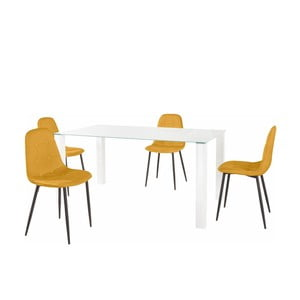 Sada jedálenského stola a 4 žltých stoličiek Støraa Dante, dĺžka stola 160 cm