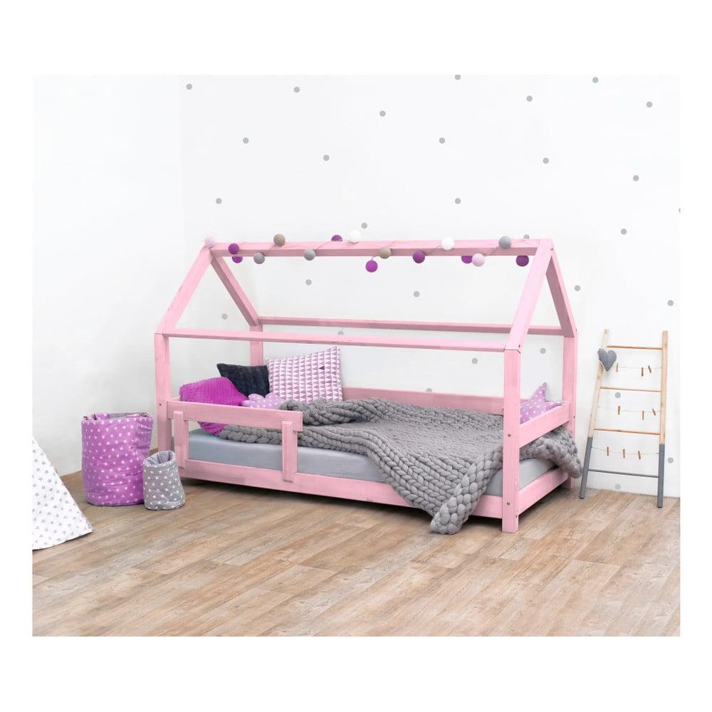 Ružová detská posteľ zo smrekového dreva s bočnicami Benlemi Tery, 120 × 160 cm