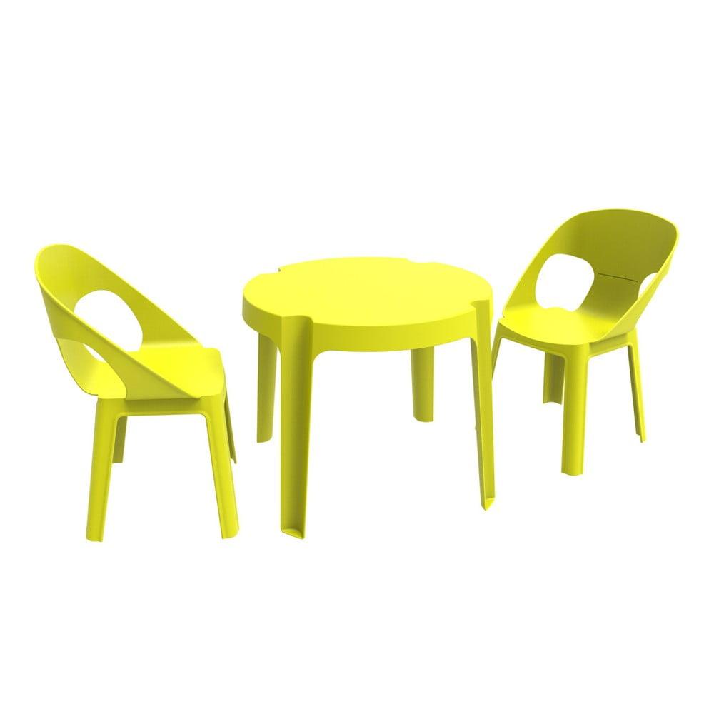 Zelený detský záhradný set 1 stola a 2 stoličiek Resol Julieta