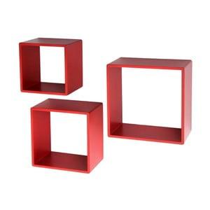Sada 3 nástenných políc Modular Red