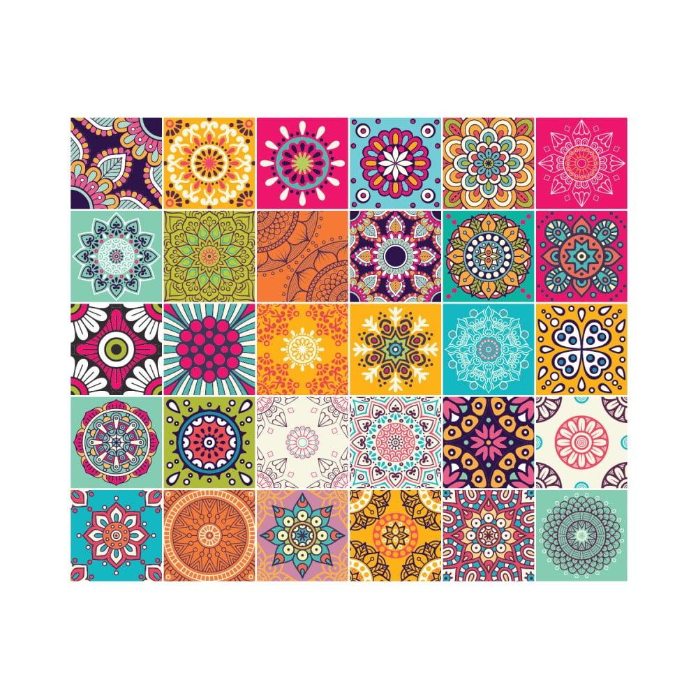 Sada 30 nástenných samolepiek Ambiance Wall Stickers Tiles Azulejos Mariska, 10 × 10 cm