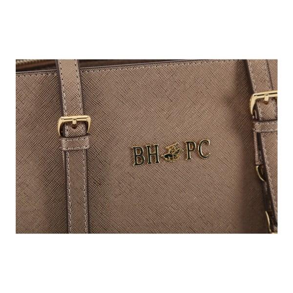 Hnedá kabelka z eko kože s medenými odleskami Beverly Hills Polo Club Anne