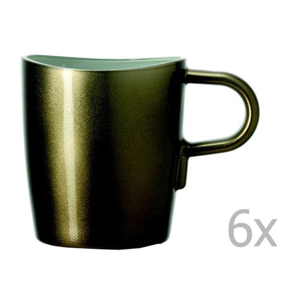 Sada 6 hnedých metalických hrnčekov na kávu LEONARDO Loop, 260 ml
